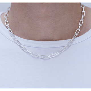 Necklace, short link, silver