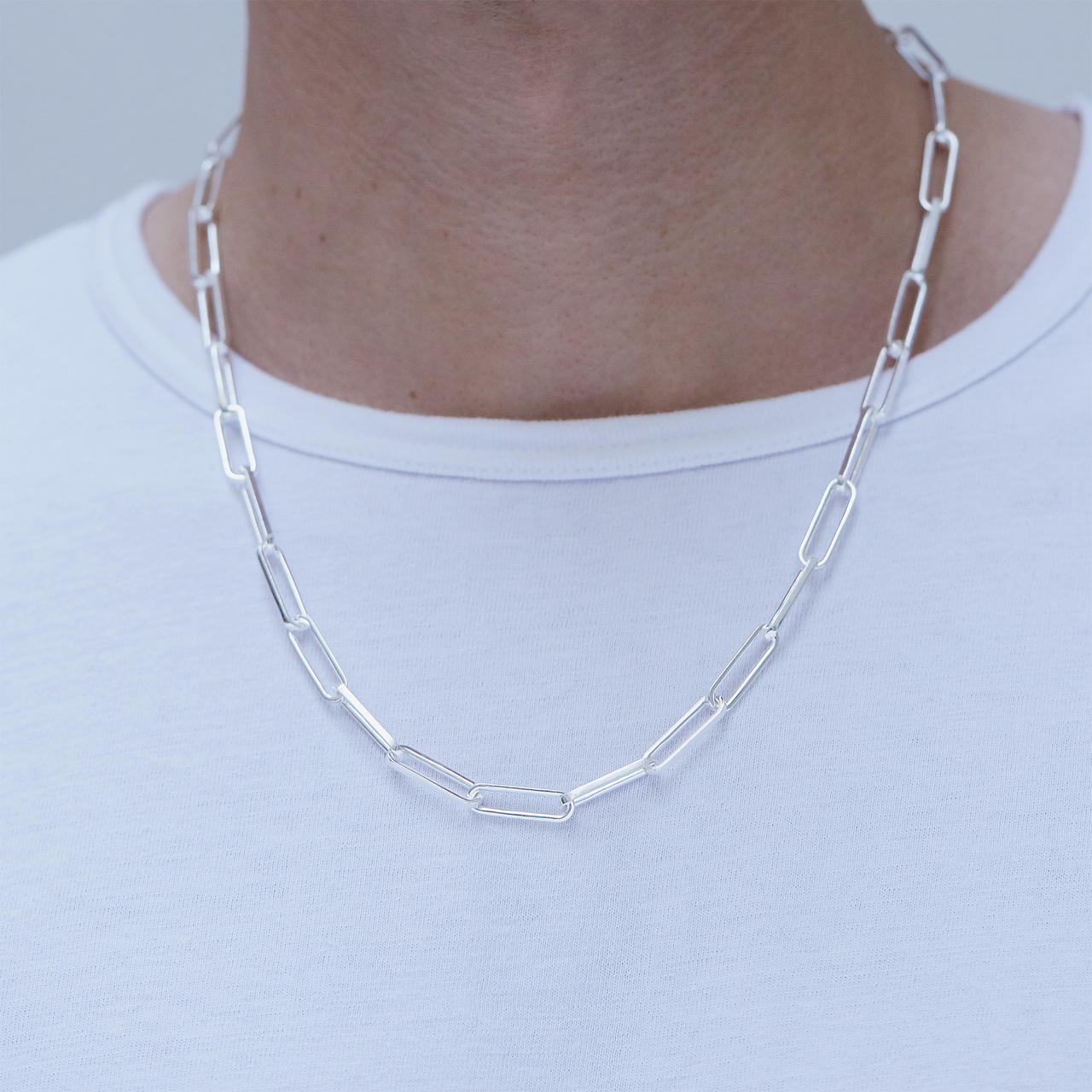 Necklace, long link, silver